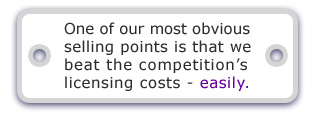 One of our most obvious selling points is that we beat the competition's 