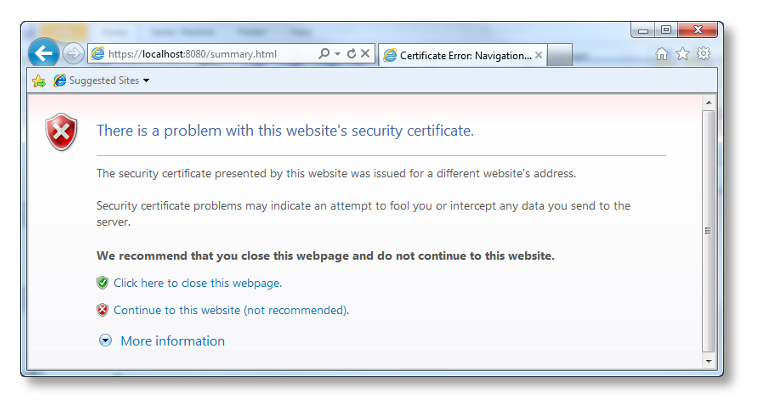 IE Certificate Error